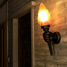 Vintage Retro Torch Lamp Loft Iron Industrial Rustic Sconce Wall Light Lamp