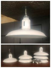"""VTG White Porcelain Enamel Barn Light Fixture 16"""" REWIRED Industrial Gas Station"""