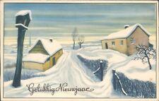 Dutch new year Gelukkog neuwjaar new year village snow scene