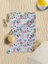 """58""""x39"""" Personalised Blue Cocktail Microfibre Beach Towel Sun Bathing Towel Only"""