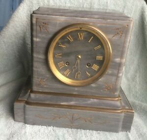ANTIQUE  TIFFANY  GREY  MARBLE  MANTLE  CLOCK   ART DECO  FRENCH WORKS