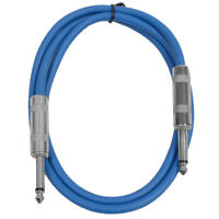 """SEISMIC AUDIO - Blue 1/4"""" TS 3' Patch Cable - Effects - Guitar - Instrument"""