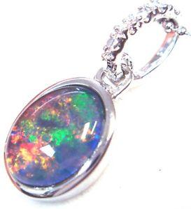 Australian Natural Black Triplet Opal Pendant Solid Silver Wedding Party