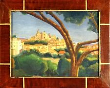 Superb ca.1960 French Provence Perched Village Impressionist Painting with Frame