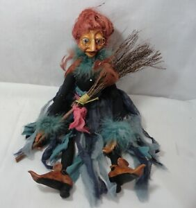 Halloween Kasma Collection Porcelain Witch Doll Broom Hand Painted Jointed