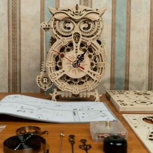 DIY 3D Owl Clock Wooden Puzzle Game Assembly Build Toy Gift Children Teens Adult