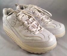 Skechers Shape Up Walking Toning White Leather Shoes Womens Size 9.5