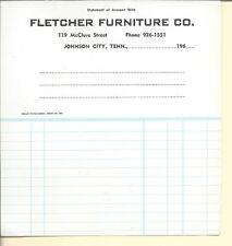 NL-027 - Fletcher Furniture Co, Johnson City, TN, Account Sheet 1960's Vintage