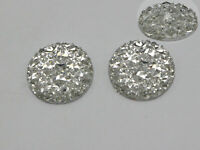50 Clear Flatback Resin Round Cabochon Gems Pyramid Dotted Rhinestone 18mm