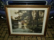 HENRI FOURDAY - FRENCH WATERWAY COLOURED ETCHING SIGNED BY ARTIST IN PENCIL 139