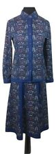 VINTAGE Matching Skirt & Top Size 12 Blue w/Multi Aztec Boho Evening Casual