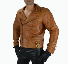 1087 Cognac Leder Motorradjacke Chopperjacke Rockabilly Motorrad leder jacke L