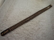 Brown Leather Goldtone Studded Choker Collar Necklace (A8)