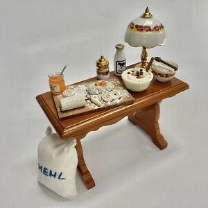 Reutter Porcelain Miniature Dollhouse Pastry Cakes Food Prep Table Bench