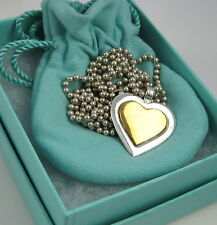 TIFFANY & CO Estate Rare Vintage Sterling Silver 18k Yellow Gold Heart Necklace