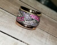 Designer Sterling silver-Rose/Yellow gold Pink Sapphire purple wide Ring Jim T