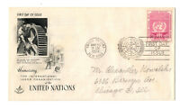 2 First Day Covers - United Nations Int'l Labor Org. -  May 10 1954, 8 & 3 cents