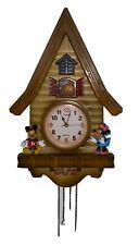 * Wsd Walt Disney Mickey & Minnie Mouse Log Cabin Cuckoo Clock Works!