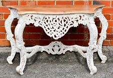 White Hand Carved Timber French Provincial Shabby Chic Hall Table Console