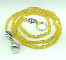 """31CT. NATURAL SAPPHIRE (2mmx3mm) FINE FACETED BEADS NECKLACE=16"""" (1-STRANDS)"""