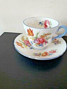 Vintage Shelley  Bone China Coffee Cup & Saucer -Davies Tulip Pattern