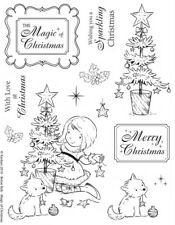 Cute girl, dog, tree clear rubber stamps for Christmas card making by Kanban