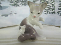 Lladro Cat and Mouse Figurine #05236  Original Box Included  Retired