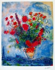 MARC CHAGALL Giclee BOUQUET OVER THE CITY Signed Ltd Ed 66/375, COA, Appraised