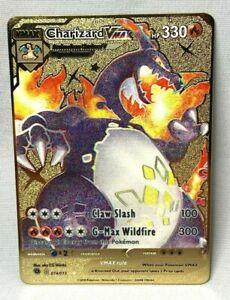 Pokemon Charizard VMAX Shiny Star GOLD METAL CUSTOM CARD 074/073