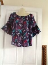 Ladies Navy Floral Off Shoulder Top,3/4 Ruffle Edge Sleeve 12 New With Tags