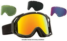 NEW Electric Rig Matte Black Red Mirror ski snowboard goggles +3 lens Msrp$240