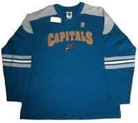 NHL Capitals PlayDry Performance Long Sleeve T-Shirt Men's L Blue NWT