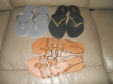 Lot Of 3 Pairs Of Women's Shoes Sandals Wedges Size 7 / 8 Flip Flops Old Navy