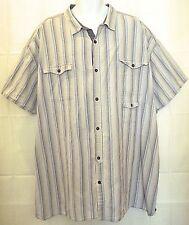Sean John 5XB Blue Striped Big and Tall Button Front Shirt 5XB