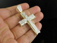 Mens 14K Yellow Gold Over Round Cut Pave Diamond Cross Pendant Charm 2.50 Ct
