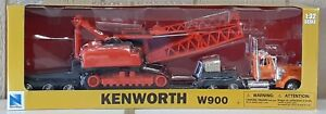 NewRay 1:32 Scale Kenworth W900 Lowboy with Construction Crane [#11293]