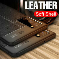 For Samsung Galaxy S21 S20 FE Ultra Plus Rubber Gel TPU Leather Back Case Cover