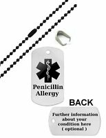 Medical Alert Army Black Pendant Necklace Emergency ID Dog Tag Birthday Gift