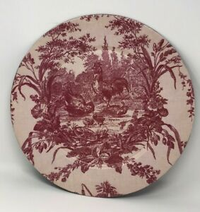 """Red Toile Rooster Print Plate Charger 13"""" French Country Farmhouse Decor"""