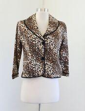 White House Black Market Brown Black Leopard Print Cropped Blazer Jacket Size 6