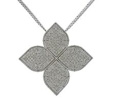 New Roberto Coin Princess Flower 4.28ctw Diamond 18k Gold Pendant Necklace