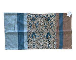 "Pottery Barn Izal Pieced Lumbar Pillow Cover 20x36""   Blue-Multi New"