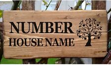Personalised House Sign Apple Tree of Life Custom Wooden Name Door Plate Plaque