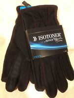 ISOTONER Men's Smart Touch Texting Gloves Black Medium M Stretch Warm Fleece $55