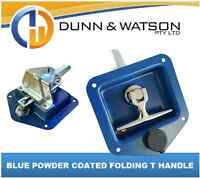Blue Recessed Stainless Folding T Lock / Handle Trailer Caravan, Toolbox Drop T