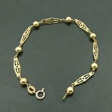 18ct yellow gold fancy pierced link and ball bracelet