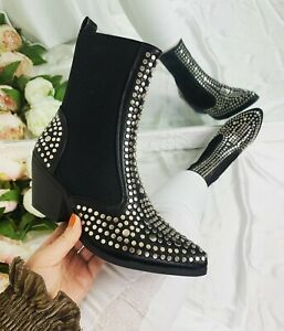 WOMENS LADIES ANKLE BIKER BOOTS MID HEEL STUDDED WINTER FASHION SHOES SIZE
