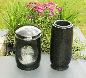 Grab-Laterne und Grab-Vase für UrnenGrab  Granit swedish black