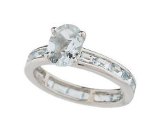 QVC - STERLING SILVER OVAL/BAGUETTE AQUAMARINE ETERNITY RING SIZE 9 - $90