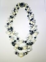 Unsongd Triple Strand Faux Pearls Black Gray Beaded Necklace Vintage